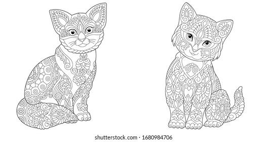 Adult coloring book. Two cute cats. Line art design for antistress colouring pages in zentangle style. Vector illustration.