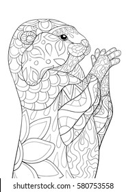 Adult coloring book,otter.Freehand sketch for adult anti stress coloring book page with doodle and zen tangle elements.