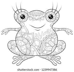 Adult coloring book,page a cute cartoon frog image for relaxing.Zen art style illustration for print.