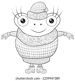 Adult coloring book,page a cute cartoon frog wearing a cap,sweater and boots image for relaxing.Zen art style illustration for print.