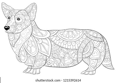 Adult coloring book,page a cute dog image for relaxing.Zen art style illustration for print.