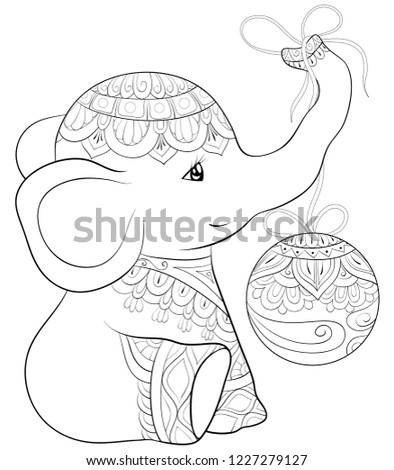 Adult Coloring Bookpage Cute Elephant Christmas Stock Vector