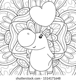 Adult coloring book,page a cute hippo with a balloon on the floral abstract  background image for relaxing.Zen art style illustration.