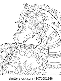 Horse Coloring Page Images, Stock Photos & Vectors