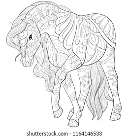 Adult coloring book,page a cute horse for relaxing.Zen art style illustration for print.