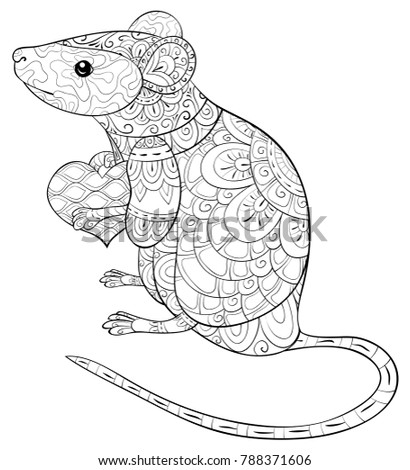 Adult Coloring Bookpage Cute Mouse Heart Stock Vector Royalty Free
