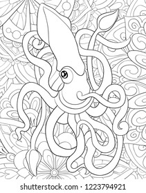 Adult coloring book,page a cute octopus image on the floral abstract background for relaxing.Zen art style illustration for print.