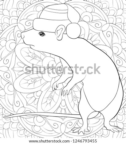 Adult Coloring Bookpage Cute Rat Wearing Stock Vector Royalty Free