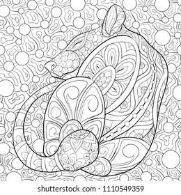 Adult coloring book,page a cute sleeping rat on the floral background for relaxing.Zen art style illustration.