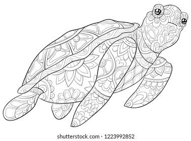 Adult coloring book,page a cute turtle image for relaxing.Zen art style illustration for print.