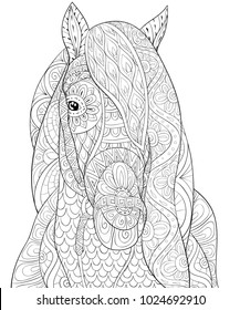 Adult coloring book,page a head of horse for relaxing.Zen art style illustration.