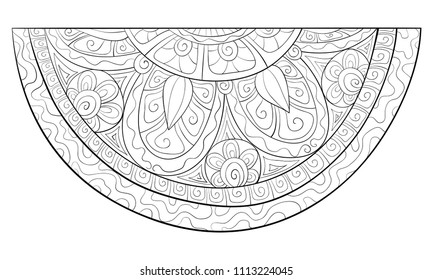 Adult coloring book,page an isolated  watermelon for relaxing.Zen art style illustration.