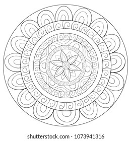 Adult coloring book,page a mandala for relaxing.Zen art style illustration.