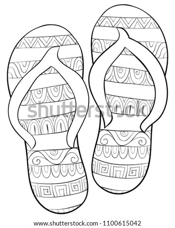 Adult Coloring Bookpage Pair Slippers Relaxing Stock Vector Royalty