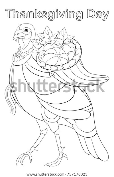 Adult Coloring Bookpage Thanksgiving Day Holiday Stock Vector (Royalty  Free) 757178323