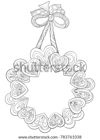 Adult Coloring Bookpage A Valentines Day Theme Imagea Cute Hearts Crown With