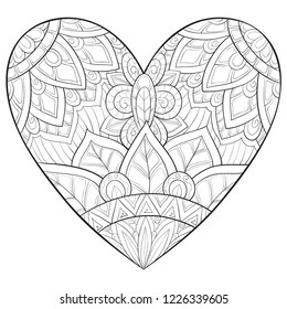 Adult coloring book,page a Valentine's heart image for relaxing.Zen art style illustration for print.