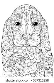 Adult coloring book,pages, beagle dog.Zen art style,doodle.