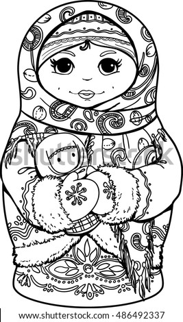 Adult Coloring Books Hand Drawn Matryoshka Nested Doll With Ethnic Floral Pattern Doodle
