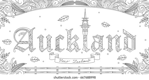 Adult Coloring Illustration Of Auckland Letter