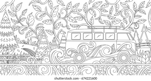 Adult Coloring Illustration of Van