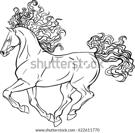 Adult coloring page antistress art therapy stock vector royalty adult coloring page for antistress art therapy running horse in zentangle style template for maxwellsz