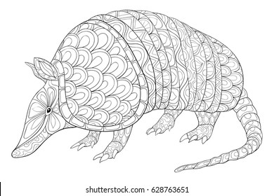 Adult coloring page armadillo animal.Zen art style illustration.