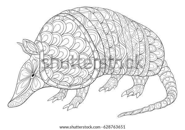 Adult Coloring Page Armadillo Animal Art Stock Vector Royalty Free 628763651