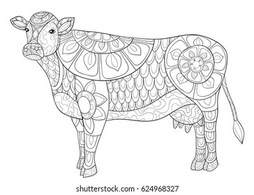 Cow Coloring Pages Images, Stock Photos & Vectors | Shutterstock