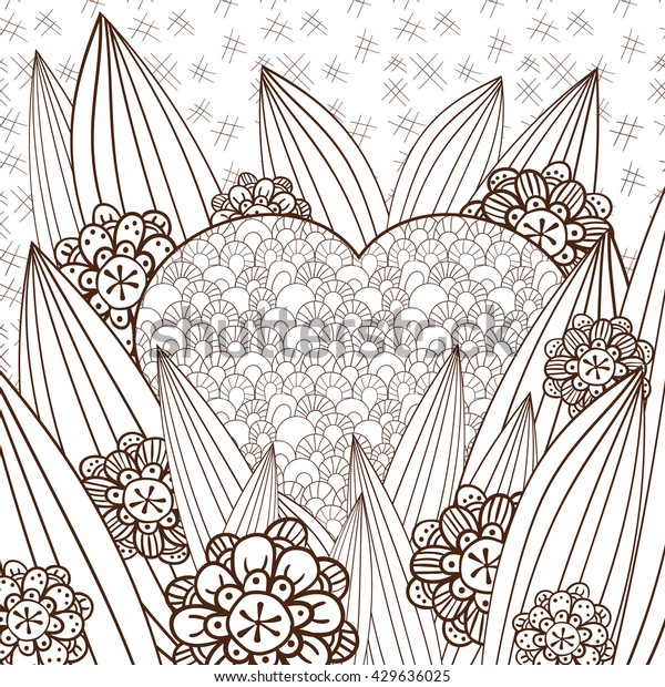 Adult Coloring Page Cute Heart Magic Stock Vector Royalty