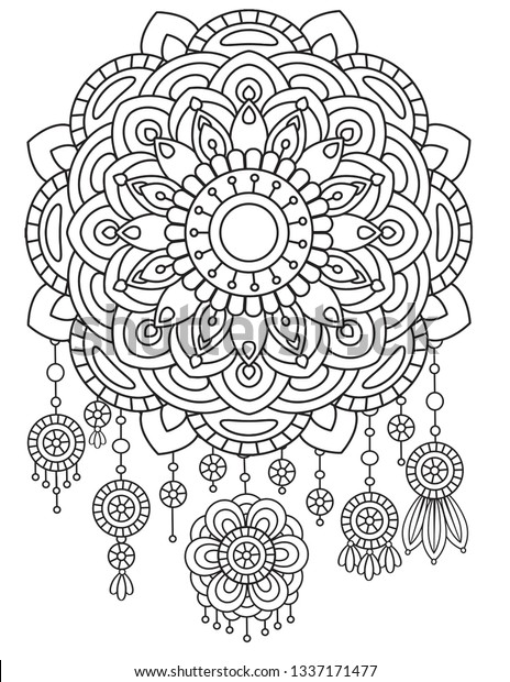 This is a picture of Canny Printable Adult Coloring Pages Dream Catchers