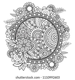 Mandala Adult Coloring Pages Stock Illustrations, Images ...