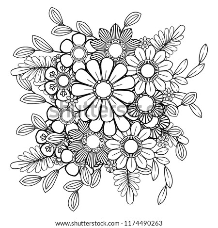 Coloring pages of random designs ~ Adult Coloring Page Flowers Pattern Black Stock Vector ...
