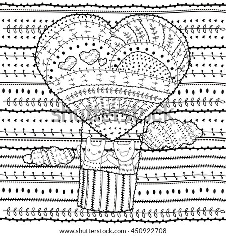 Adult Coloring Page Heart Shaped Hot Air Balloon Two Friends In The Sky With