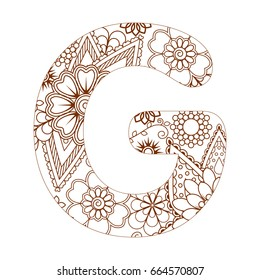 Adult Coloring Page With Letter G Of The Alphabet Ornamental Font