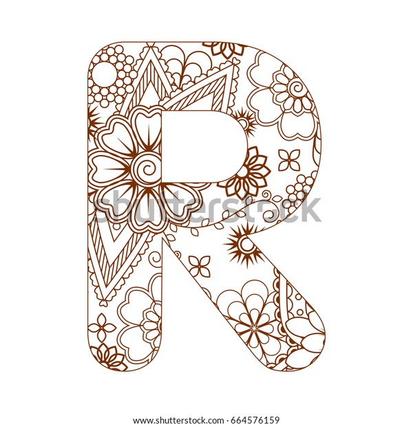 Adult coloring page with letter R of the alphabet. Ornamental font