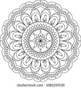 Adult coloring page. Mandala coloring book. Vector illustration. Meditation and relax.