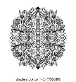 Adult coloring page. Mandala vector for art, coloring book, zendoodle. Round zentangle for coloring book pages, mandala design. Coloring page with mandala. round ornament  lace pattern