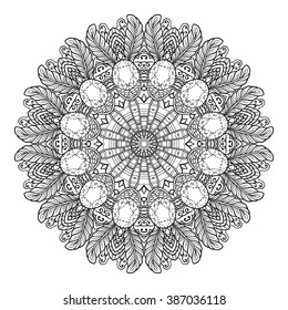 Adult Coloring Page Mandala Vector For Art Book Zendoodle Round Zentangle
