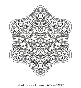Adult coloring page. Mandala vector for art, coloring book, zendoodle. Round zentangle for coloring book pages. Coloring mandala. round ornament lace pattern