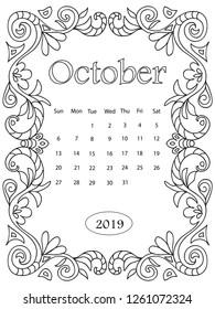 Printable Coloring Calendar for 2020 (and 2019!) | Woo! Jr. Kids ... | 280x195