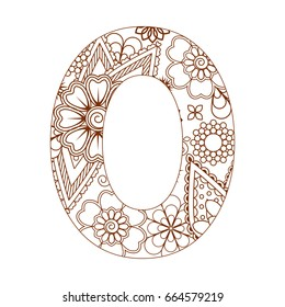 Adult coloring page with number 0. Ornamental font.