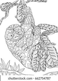 Adult coloring page a sloth.Zen art style illustration.