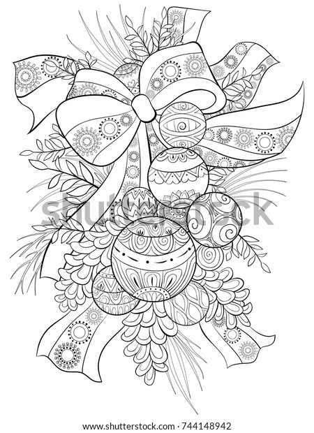 Adult Coloring Pagebook Christmas Balls Zen Stock Vector Royalty Free 744148942