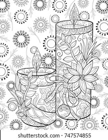 Adult coloring page,book the christmas candles with flower and decoration ball with background..Zen art style illustration.