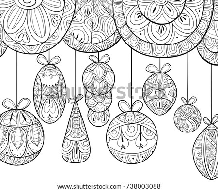 Adult Coloring Pagebook Christmas Holiday Tangle Stock Vector