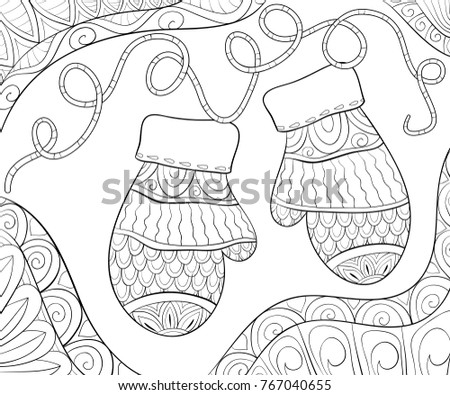 Adult Coloring Pagebook Christmas Theme Illustration Stock Vector