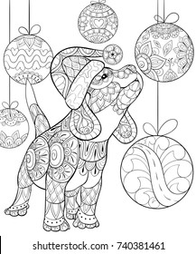 Adult coloring page,book a cute christmas puppy,dog.Zen art style illustration.