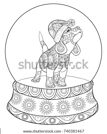 Adult Coloring Pagebook Cute Christmas Puppydog Stock Vector