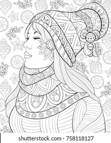 Adult coloring page,book a cute girl wearing scarf and cap with snowflakes.Zen art style illustration.